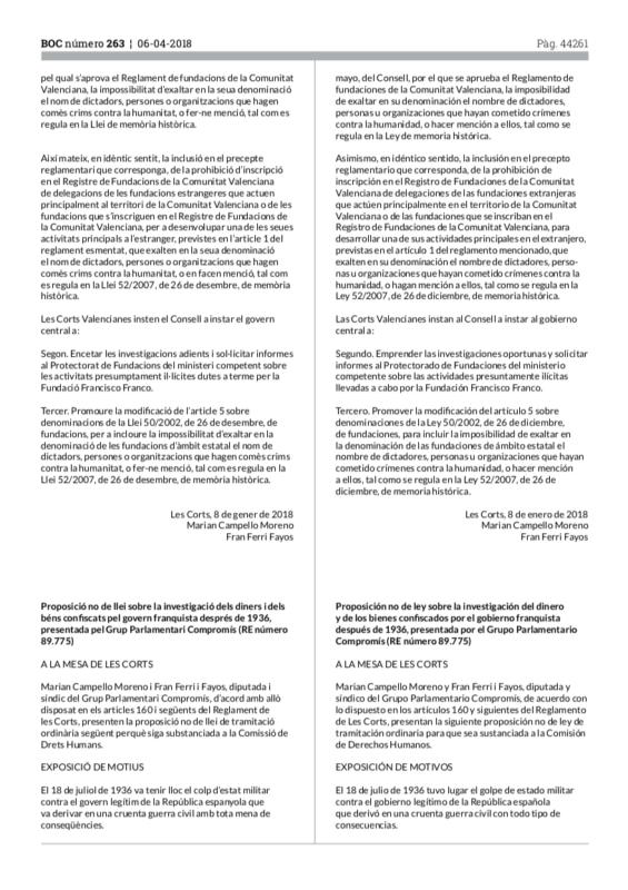 Proposición no de ley sobre la investigación del dinero y los bienes confiscados por el gobierno franquista